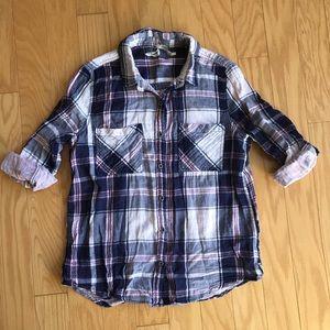 Seven7 Navy & Pink Plaid Button Down Cotton Shirt